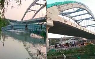 5月8日,浙江绍兴市杭绍台高速公路一座即将完工的在建桥梁坍塌。(视频截图合成)