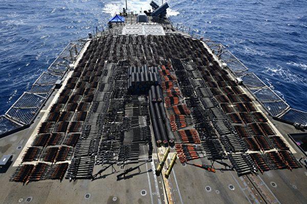 美军北阿拉伯海拦截帆船 查获一批中俄式武器