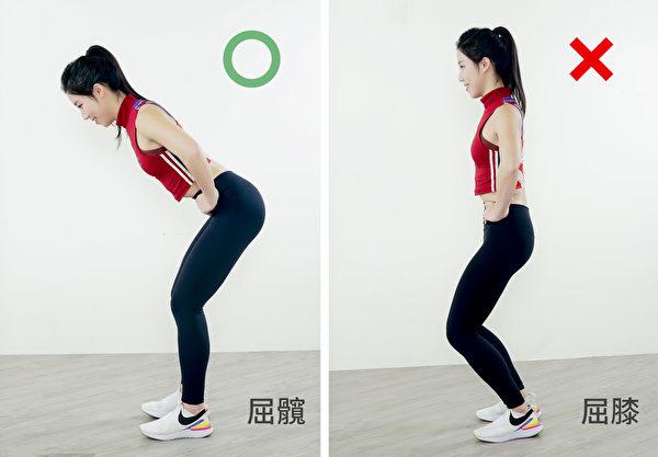 下蹲时,正确的姿势时屈髋关节,而非依赖膝盖的力量。(采实文化提供)