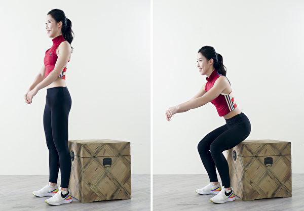 """参考""""箱上深蹲""""的动作练习正确的坐下方式。(采实文化提供)"""