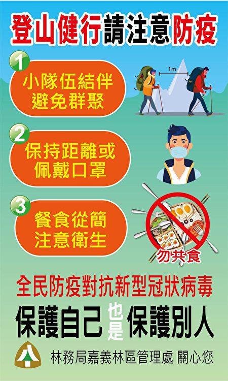 登山健行请民众一同落实防疫措施。