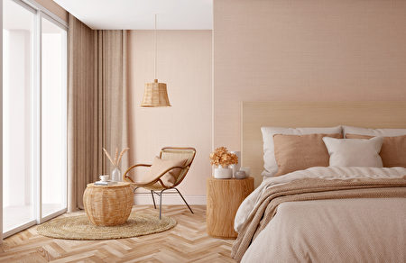 Bedroom,Interior.beige,Tones,Design.3d,Rendering,臥室,鄉村風,Shutterstock