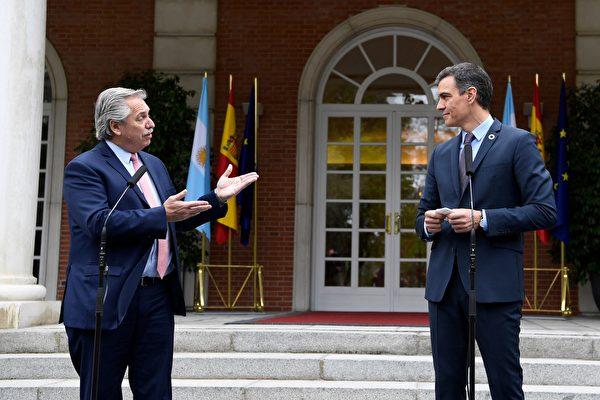 組圖:阿根廷總統訪歐期間會晤西班牙總理