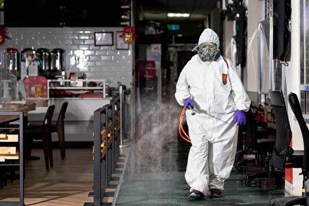 桃园市政大楼每日夜间均进行大规模清消毒。