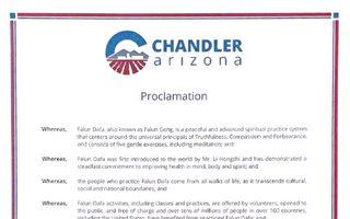 美國亞利桑那州錢德勒市長宣布法輪大法日