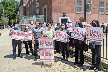 市议会第20选区参选人杨爱伦与支持者合影。