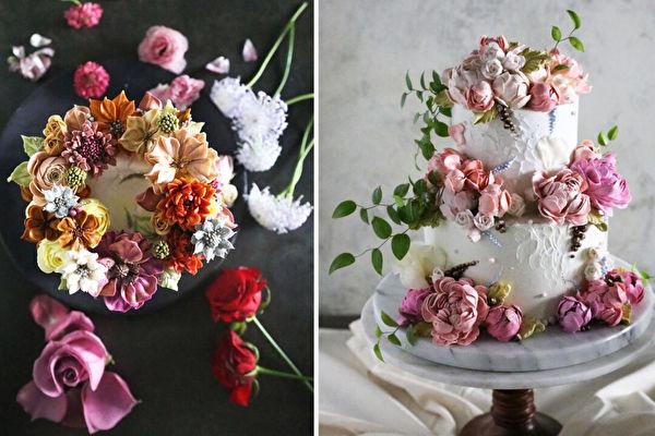 组图:韩国蛋糕师梦幻般的花朵蛋糕 不忍吃
