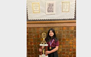 纽约华裔女孩全美英文书法大赛夺冠