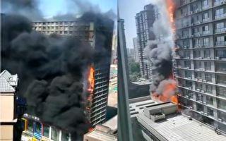 石家莊市又一大廈突發起火 濃煙滾滾