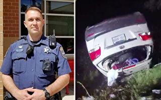 司机翻车头部被卡 一警员抬起1.6吨车助脱困