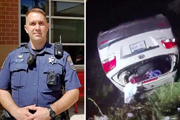 司機翻車頭部被卡 一警員抬起1.6噸車助脫困