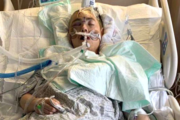 在医院昏迷中的林玮。(截自gofundme.com)