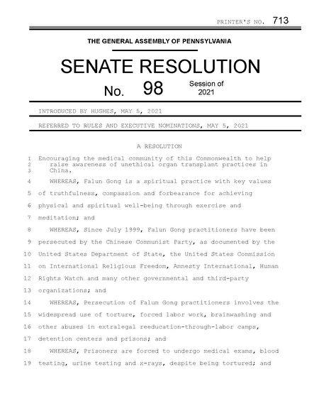 阻中共活摘器官 宾州参议院提决议案