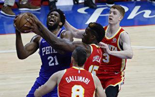 NBA恩比德轰40分 76人击落老鹰