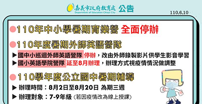 停課延長至暑假 嘉市公布暑假活動配套因應