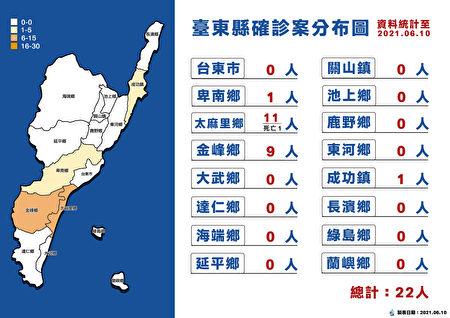 臺東確診分布圖。