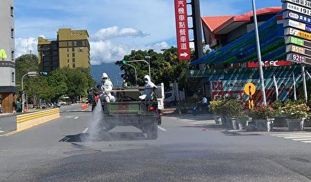 陸軍化學兵支援臺東市區及周邊大消毒。