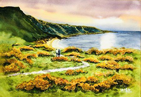 風景水彩畫:美麗的澎湖灣。