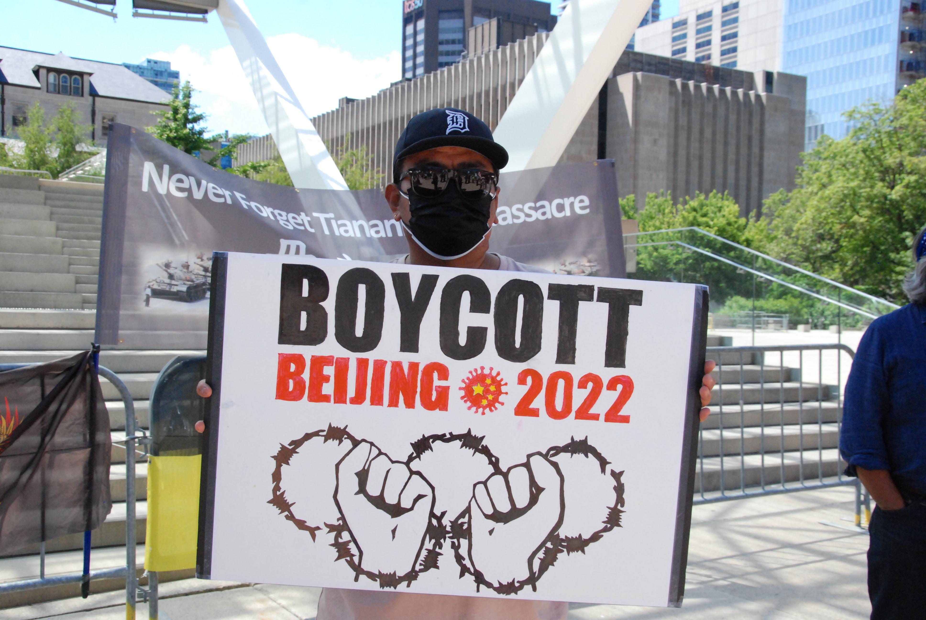 組圖:響應全球抵制北京冬奧 多倫多16團體集會