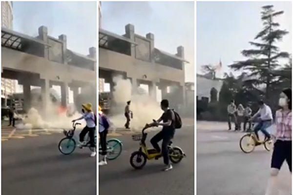网传视频:中共外交部前老人纵火抗议