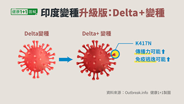 Delta Plus在刺突蛋白發生了K417N突變。(健康1+1/大紀元)