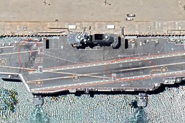 中共航母現硬傷?衛星拍到山東艦甲板嚴重破損