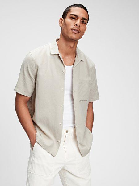 亚麻混纺印花衬衫。