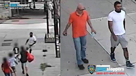 左圖為白衣男子當著5歲男童的母親的面把孩子硬是搶走,右圖是被警方通緝的這兩名綁架未遂的男子。