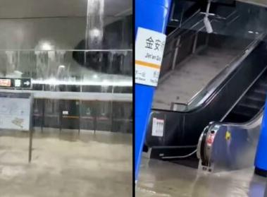 北京大暴雨致山体崩塌 多地淹水地铁站关闭