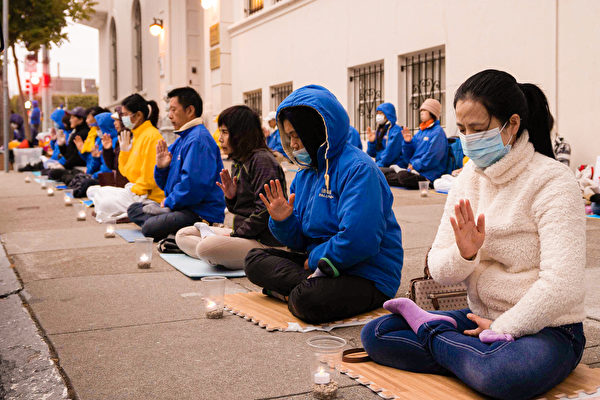反迫害22周年 旧金山法轮功学员烛光悼念