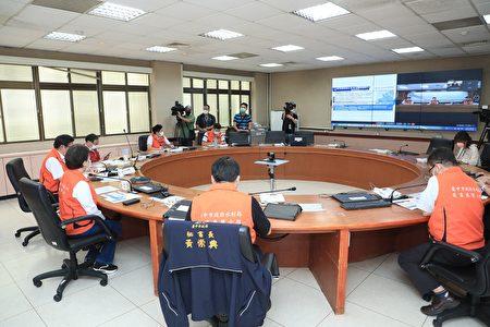 台中市21日上午防汛会议。
