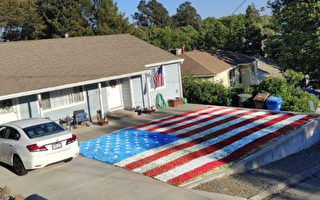 美国退伍军人前院草坪上喷绘巨大国旗