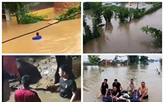 【一线采访】村民加高河堤自救 官兵毁堤泄洪