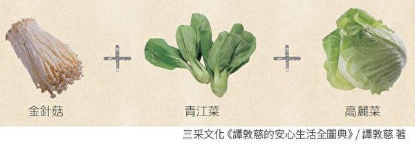 把金针菇、青江菜、高丽菜一起炒,简单料理就能吃到多种蔬菜。(三采文化提供)