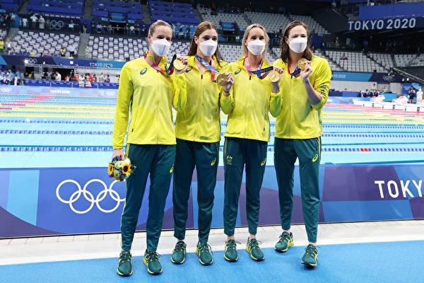 破女子4X100自由泳紀錄 澳洲隊奪奧運首金