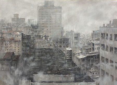 水彩類第一名作品鍾子逸〈迷霧之間〉,連結霧霾與個人情感於畫面之中。