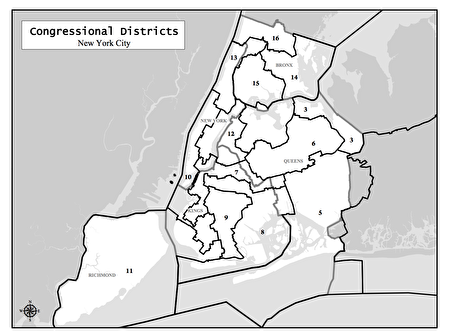 图为纽约市的国会选区范围。