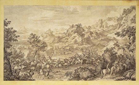 故宮南院自7月30日起推出「遠方的戰爭─清宮銅版戰圖展」,展出清 乾隆29年至42年(1764至1777)平定準噶爾回部得勝圖—格登山斫營圖(銅版畫)_繪稿「郎世寧」;主持 柯升Cochin,鋟版者勒霸(Le Bas),完成時間1769年。