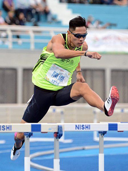 台中好手陳傑三戰奧運400公尺跨欄,中市府肯定奮戰不懈精神。