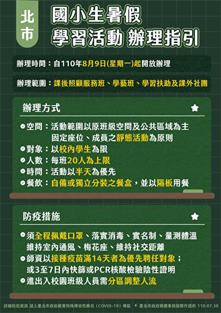 台北市政府30日公布国小暑假活动办理指引。