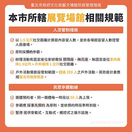 台北市政府30日公布文化局所辖展览、表演场馆开放指引。