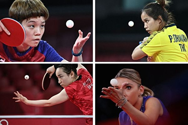 组图:东京奥运 兵乓球高手发球各显本领