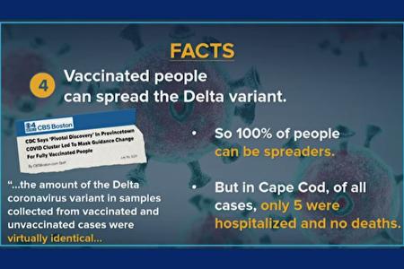 州長引用媒體報導,已接種疫苗者仍可傳染Delta變種病毒。