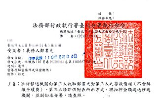 居檢訪友被罰20萬元拒繳 台北分署執行清償
