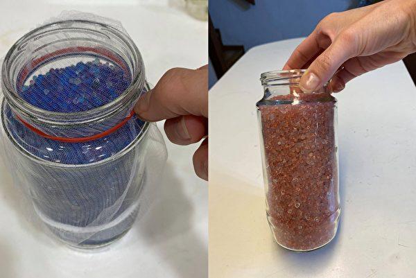 将水玻璃倒入瓶子或网袋里,就是简易的除湿罐、除湿包。当水玻璃变粉红色,就需要加热后再利用。(图片提供/陈映如-Sona Queen的生活笔记本)