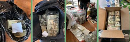 圖為去年5月,紐約緝毒署抓獲一起毒品洗錢案的現場照。這些錢用袋子裝著,有5元一綑、20元一綑,紙條上標記了毒品分銷人的名字代號。