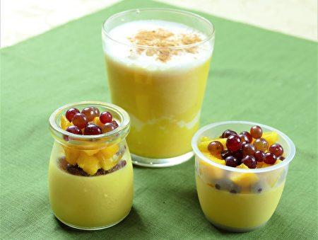 夏日的芒果飲品芒果奶昔、芒果布丁。