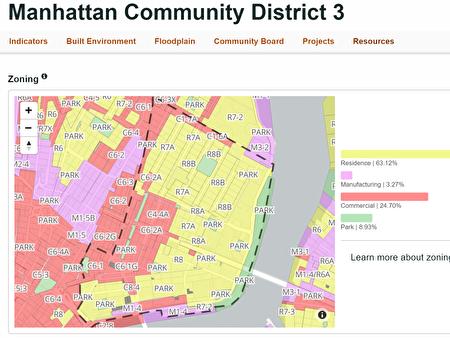 曼哈頓第三社區(虛綫内)區劃圖。
