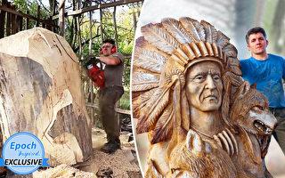組圖:藝術家用電鋸賦予樹幹新的生命