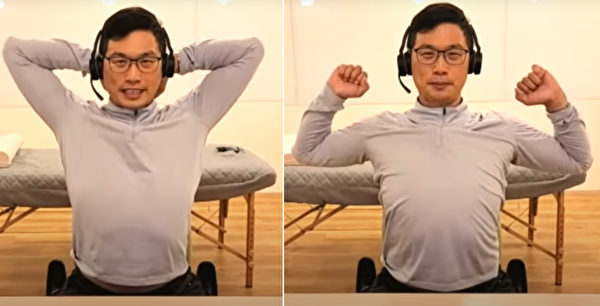 手肘抬到最高後,再往外拉開做擴胸的動作。(健康1+1/大紀元)